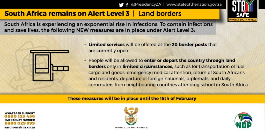 Closure of land borders under alert level 3 in South Africa