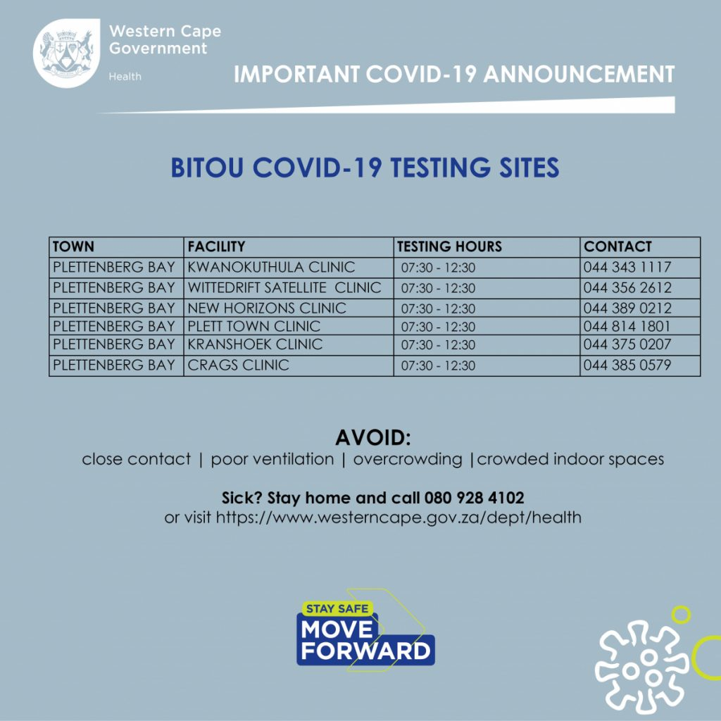 Bitou covid-19 testing sites - Where to get tested for covid-19 in Plettenberg Bay
