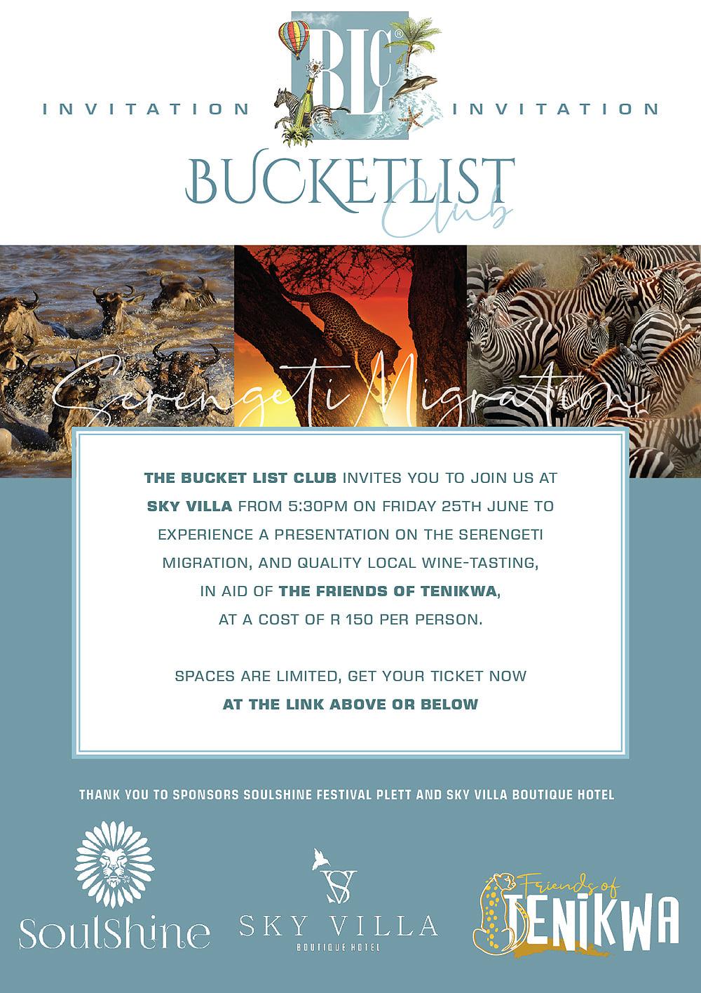 Bucket List Serengeti Migration Talk and Wine Tasting in aid of the Friends of Tenikwa