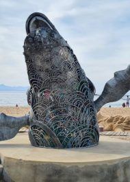 Recycled whale artwork finds a home at Central Beach in Plett